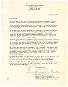 Circular letter from Paul Robeson and Associates to unidentified correspondent