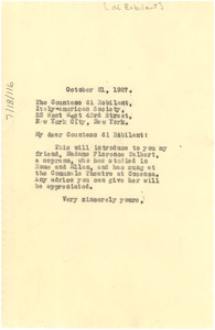 Letter from W. E. B. Du Bois to The Countess di Robilant