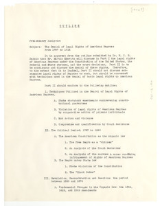 Outline of The Denial of Legal Rights of American Negroes from 1878 to 1914