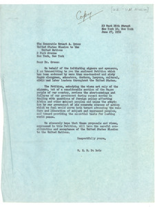 Letter from W. E. B. Du Bois to United States Mission to the United Nations