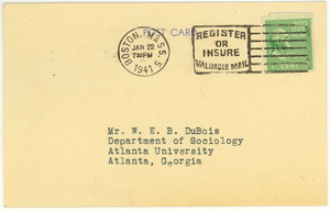 Postcard from American Unitarian Association to W. E. B. Du Bois