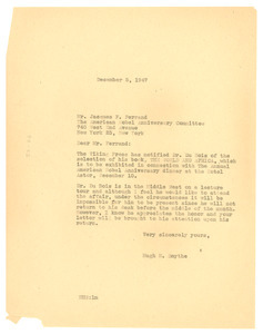 Letter from Hugh S. Smythe to American Nobel Anniversary Committee
