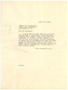 Letter from W. E. B. Du Bois to Napoleon B. Marshall