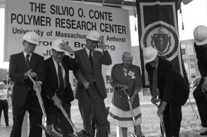 Ceremonial groundbreaking for the Conte Center: Gov. William Weld and Corrine Conte (both at center) after the first shovel of dirt