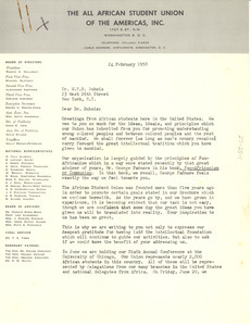 Letter from All African Student Union of the Americas to W. E. B. Du Bois