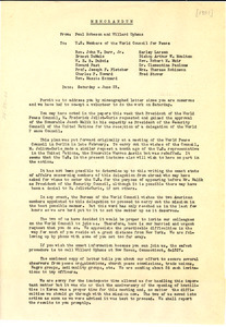 Memorandum from Paul Robeson and Willard Uphaus to U.S. Members of the World Council for Peace
