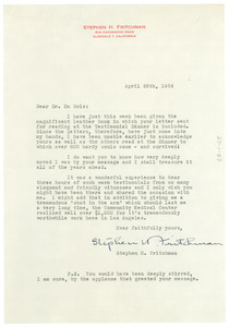 Letter from Stephen H. Fritchman to W. E. B. Du Bois