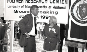 Ceremonial groundbreaking: unidentified man and Corinne Conte