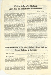 Appeal for the Fourth World Conference Against Atomic and Hydrogen Bombs and for Disarmament