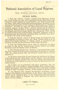 National Association of Loyal Negroes: Peace Aims