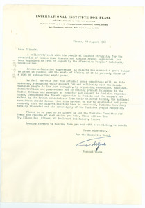 Circular letter from International Institute for Peace to W. E. B. Du Bois