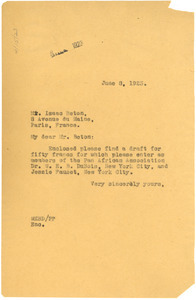 Letter from W. E. B. Du Bois to Isaac Beton