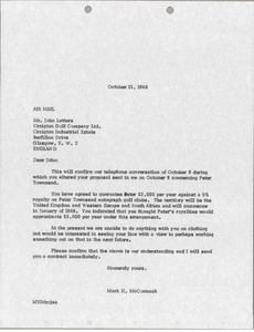Letter from Mark H. McCormack to Craigton Golf Company Ltd.