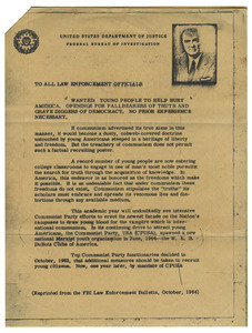 Circular letter from J. Edgar Hoover