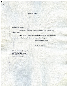 Letter from W. E. B. Du Bois to Norfolk Journal and Guide
