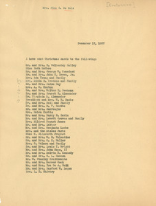 List of Christmas card recipients, 1937