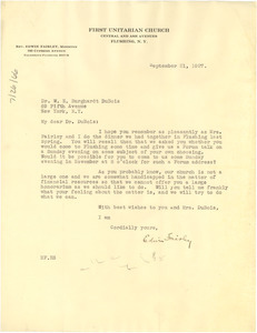 Letter from First Unitarian Church to W. E. B. Du Bois
