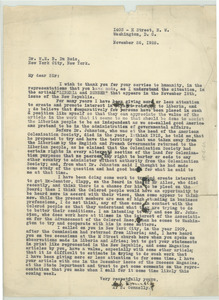 Letter from A. S. Connelly to W. E. B. Du Bois