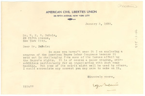 Letter from Roger Baldwin to W. E. B. Du Bois