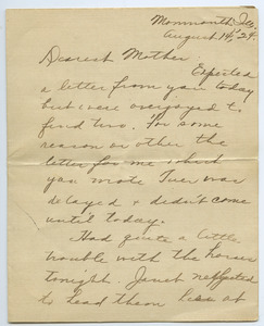Letter from Mary Burgett to Sarah Kessel