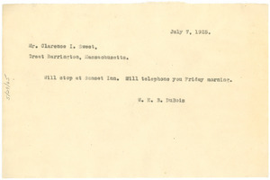 Draft of telegram from W. E. B. Du Bois to Mr. Clarence I. Sweet