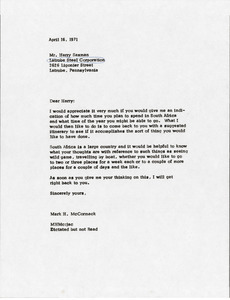Letter from Mark H. McCormack to Harry Saxman