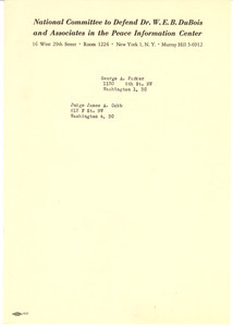 Addresses of George A. Parker and Judge James A. Cobb
