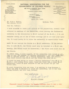 Letter from the NAACP to W. E. B. Du Bois