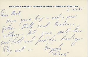 Card from Richard R. Harvey to Mark H. McCormack