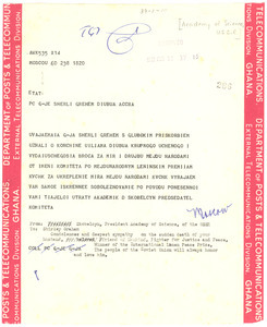 Telegram from Akademiia nauk SSSR to Shirley Graham Du Bois