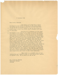 Letter from W. E. B. Du Bois to Walter R. Chivers