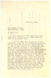 Letter from W. E. B. Du Bois to Standard Encyclopedia of the Alcohol Problem