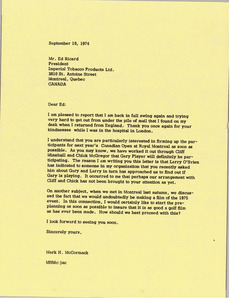 Letter from Mark H. McCormack to Ed Ricard
