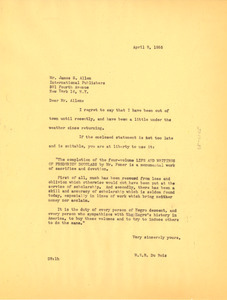 Letter from W. E. B. Du Bois to International Publishers
