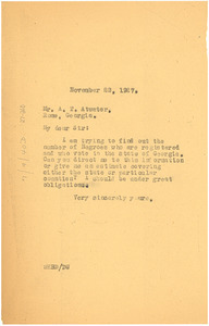 Letter from W. E. B. Du Bois to A. T. Atwater