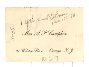 A. P. Camphor visiting card