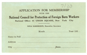 Application for membership with the National Council for Protection of Foreign Born Workers