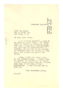 Letter from W. E. B. Du Bois to May Hawes