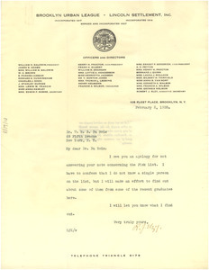 Letter from Robert Elzy to W. E. B. Du Bois