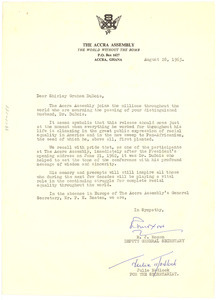 Letter from Accra Assembly to Shirley Graham Du Bois