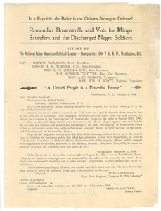 Circular of Petition to Theodore Roosevelt from the National Negro American Political League
