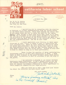 Letter from Holland Roberts to W. E. B. Du Bois