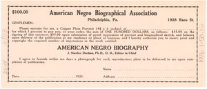 $100 contract for copper plate portrait in the American Negro Biography