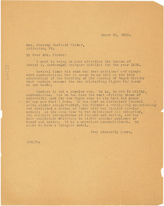 Circular letter from W. E. B. Du Bois to Dorothy Canfield Fisher