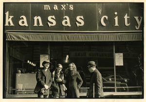 Steve Diamond, Raymond Mungo, and Susan Stern Dalsimer in front of Max's Kansas City