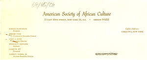 American Society of African Culture letterhead