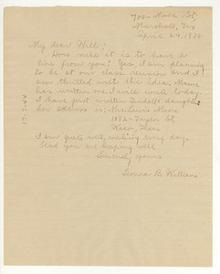 Letter from Leonora Williams to W. E. B. Du Bois