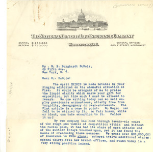 Letter from R. H. Rutherford to W. E. B. Du Bois [incomplete]