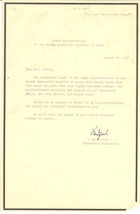 Letter from Germany (East) to Shirley Graham Du Bois