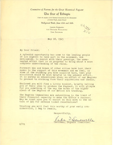 Circular letter from Committee of Patrons for the Great Historical Pageant the Star of Ethiopia to unidentified correspondent